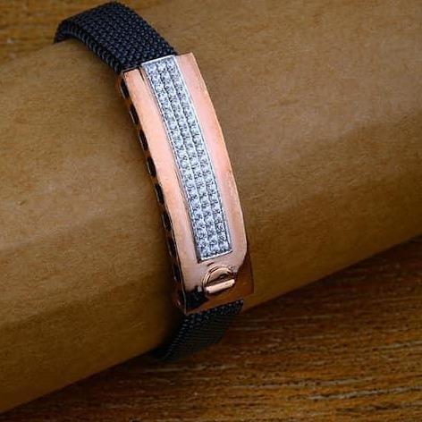 Rose Gold Gents Leather Brasclet RH-RSB48