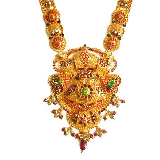 916KDM Long Meenakari Flower Shaped Necklace Set MGA - GLS043