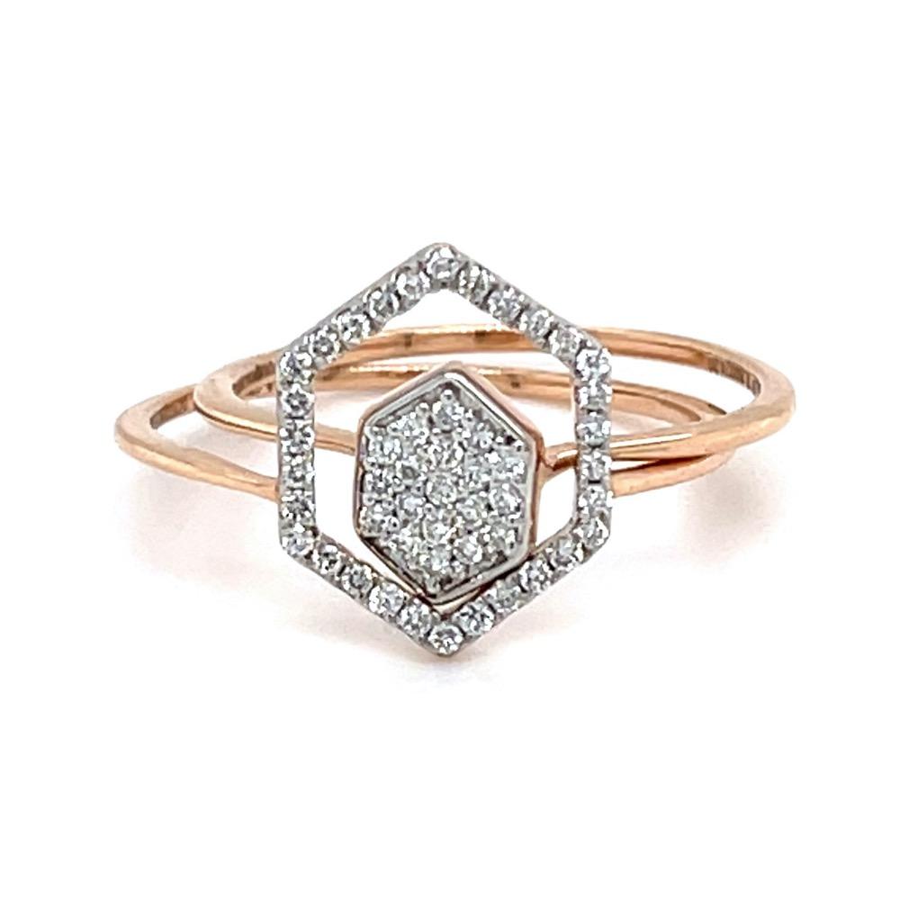 Stackable Hexagon Diamond Ring in 18K Rose Gold - 0LR161