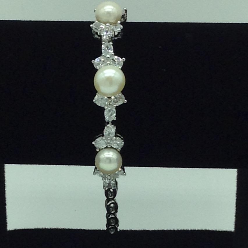 White Button Pearls And WhiteCZ WhiteAlloy ChainBraceletJBG0209