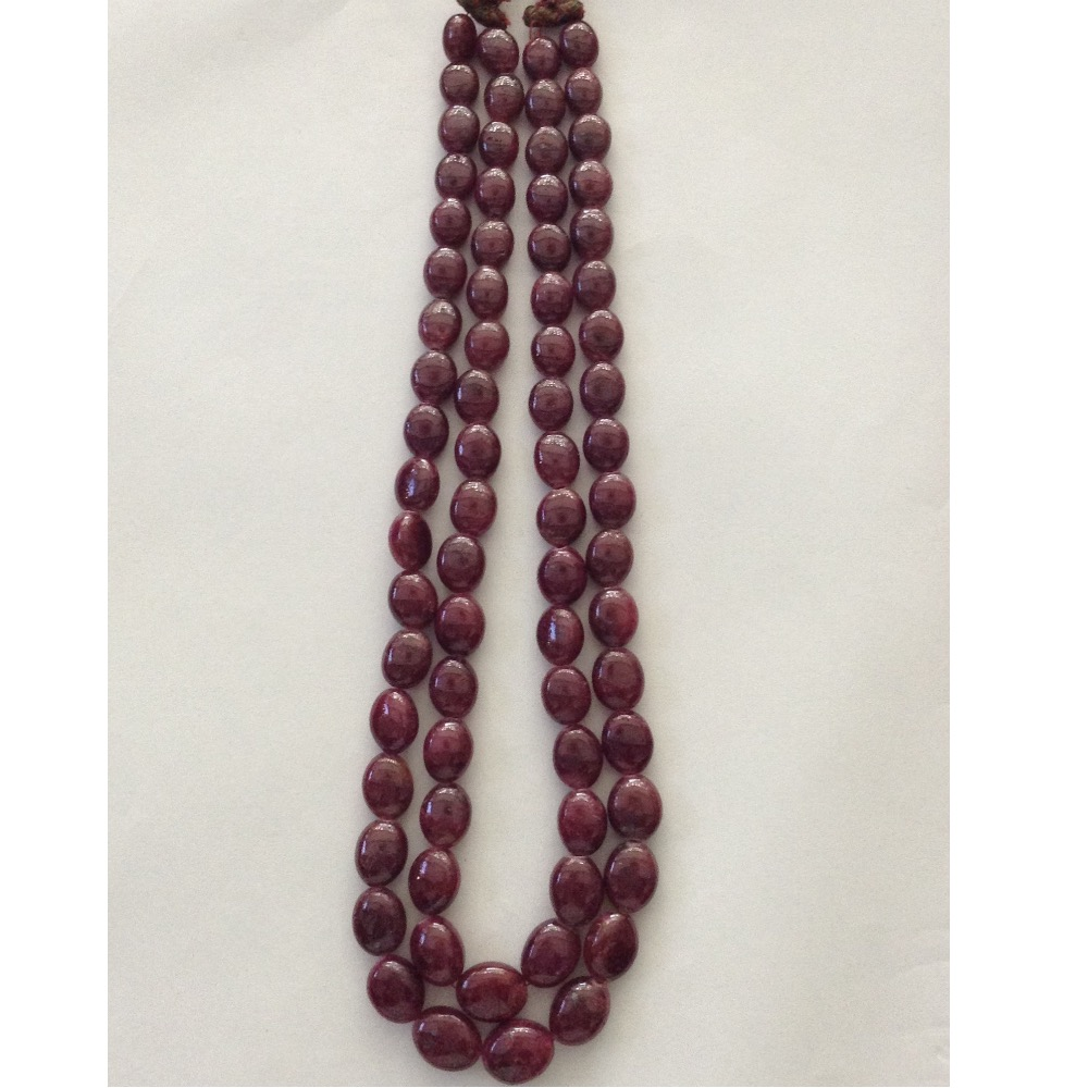 Natural Red Ruby Oval Aweja 2 Layers Necklace