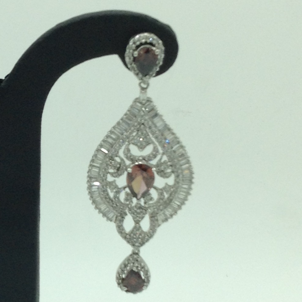White and Purple CZ Stones Ear Hangings JER0069