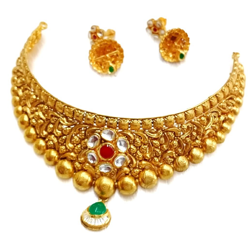 22k gold antique necklace set MGA - GN027