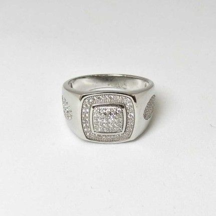 925 Sterling Silver AD Diamond Casual Gents Ring