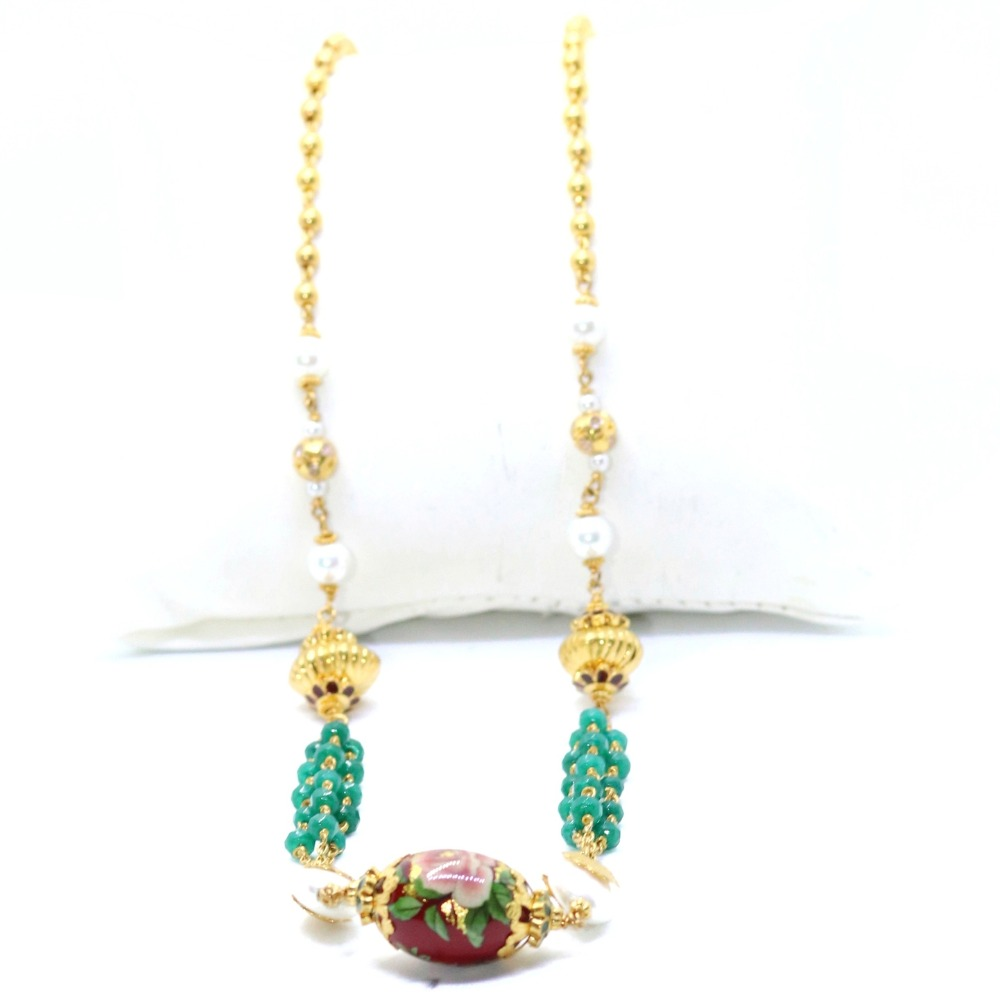 22KT / 916 Gold Fancy 3 line Green Stone Mala With White Moti For Ladies CHG310