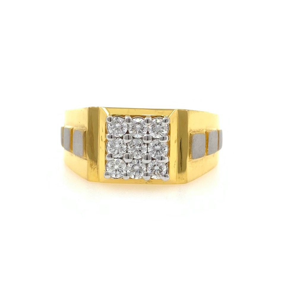 9 diamond with 3 squares gents ring in 18k yellow gold 0gr2