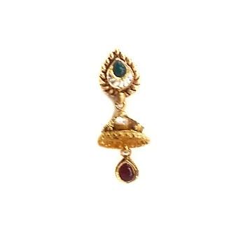 916 Gold Antique Rajwadi Necklace With jumar buti MGA - GLS077