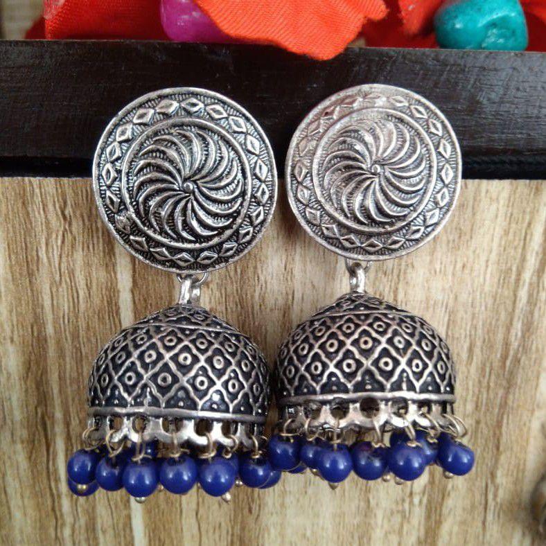 jhumka earrings oxidized silver jewelry
