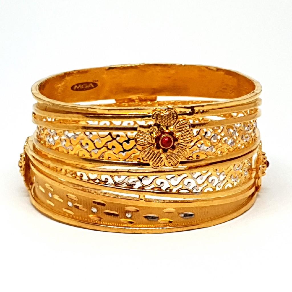 One gram gold forming flower kada bangles mga - bge0184