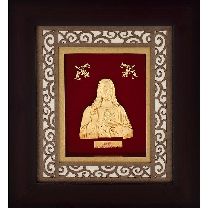 916 Gold Plated Jesus Photo Frame AJ-10