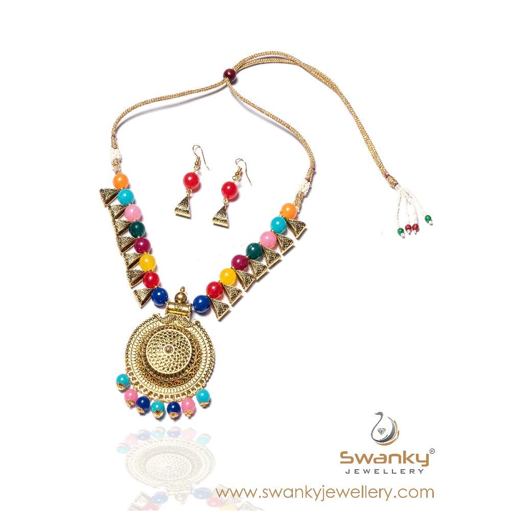 Designer colorful beads necklace set for women sj-n007