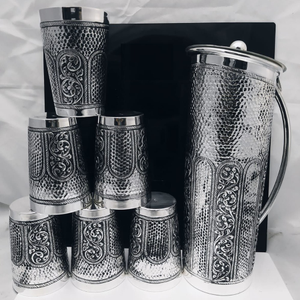 925 pure silver stylish antique jug and glass