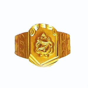22k gold ganesh design ring for men