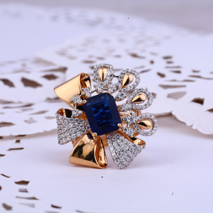 Ladies 18k designer cocktail rose gold ring-r