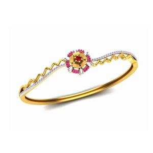 22kt gold cz fancy flower design bracelet so-