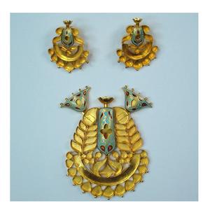Antique jadtar kundan pendant set khokha-akm-