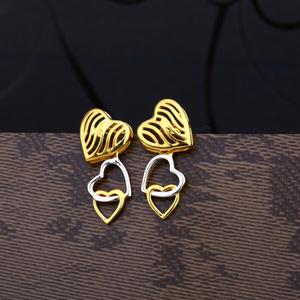 Ladies 22k gold plain fancy earring -lpe62