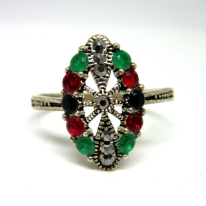 Silver 925 colorful multicolor diamond ring s