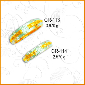 22kt gold stylish cz couple ring cr-113