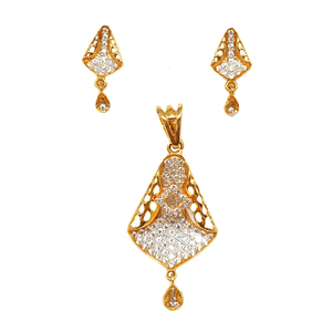 22k gold modern pendant set mga - ptg0033