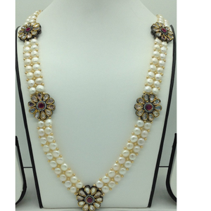White cz and kundan broachset with button