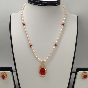 White and red cz pendentset with ovalpear
