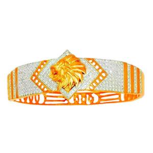 916 gold traditional designer lion shape kada