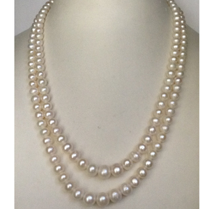 Fresh water round white pearls graded neckalc