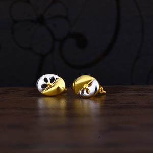 Ladies 22k gold designer cz earring -lpe103
