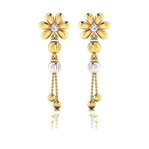 22kt gold flower design latkan earring so-e00