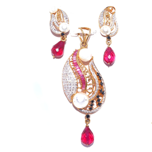 916 gold cz pink stone pendant set