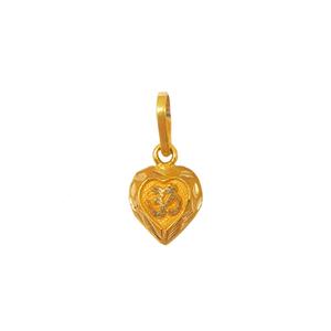 18k gold heart shaped om pendant mga - pdg019