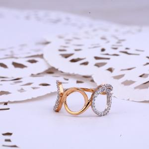 Ladies rose gold 18k cz fancy ring-rlr363