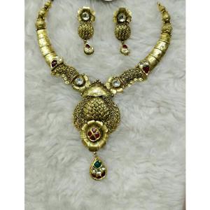 22k / 916 jadtar gold antique necklace set