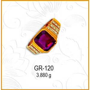 22kt gold cz pink stone gents ring gr-120