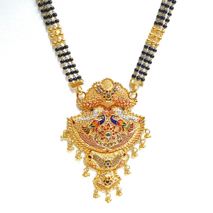 22k gold black beads meenakari peacock mangal