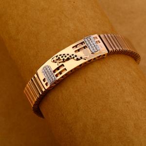 18kt cz rose gold hallmark designer mens brac
