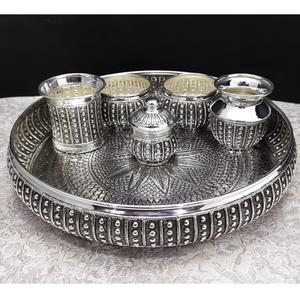 925 pure silver antique pooja thali set
