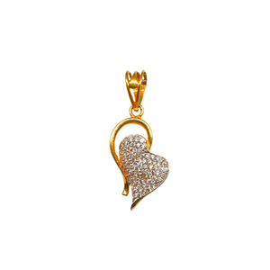 22k gold heart shaped modern pendant mga - pd