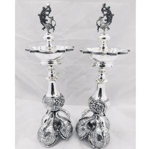 925 pure silver panchmukhi lamp with rajhans