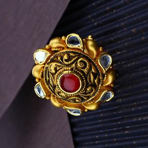 916 hallmark gold antique rajputi design ring