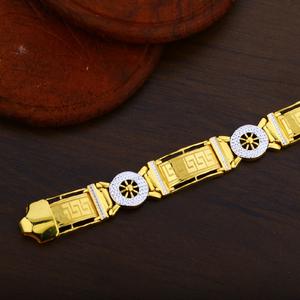 Mens 916 gold plain rodium fancy cz bracelet-