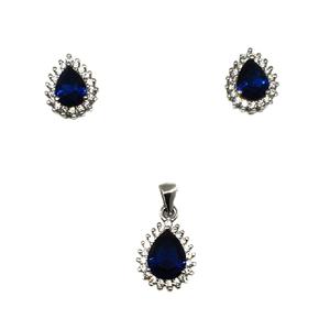925 sterling silver pear shape blue diamond p