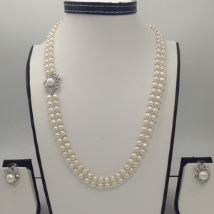 White cz and pearls broach set with 2 line