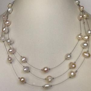 Freshwater white pink potato pearls 3 layers