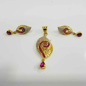 22kt gold fancy pink stone cz pendant set