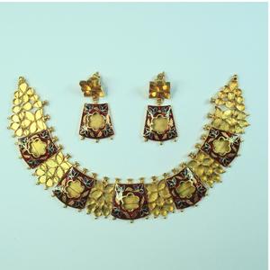 Antique jadtar kundan necklace set khokha-akm