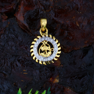 916 cz gold ganesha pendant jj-p039