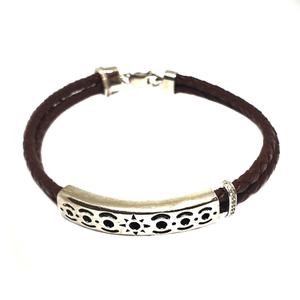 925 sterling silver leather belt bracelet mga