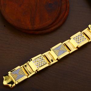 Gold plain 916 mens bracelet-mpb66